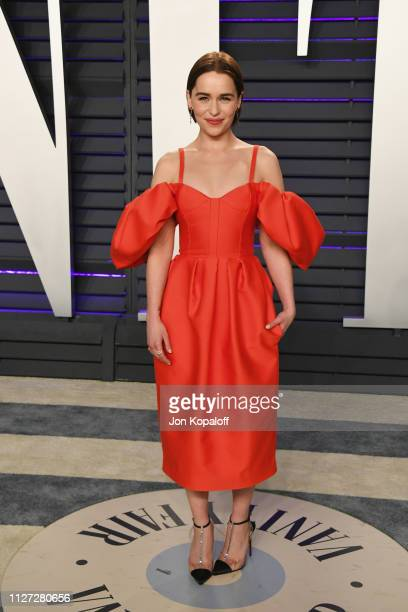 Emilia Clarke attends the 2019 Vanity Fair Oscar Party hosted by Radhika Jones at Wallis Annenberg Center for the Performing Arts on February 24 2019...