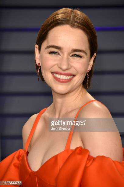 Emilia Clarke attends the 2019 Vanity Fair Oscar Party hosted by Radhika Jones at Wallis Annenberg Center for the Performing Arts on February 24,...