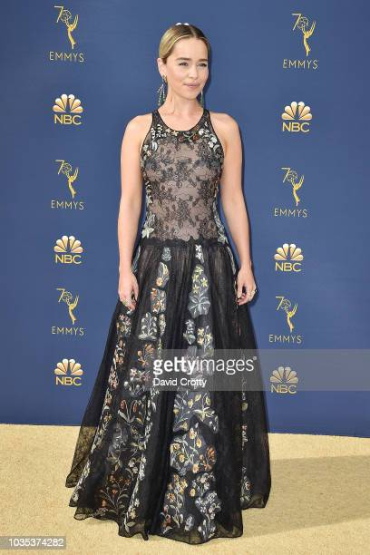 Emilia Clarke attends the 70th Emmy Awards Arrivals at Microsoft Theater on September 17 2018 in Los Angeles California