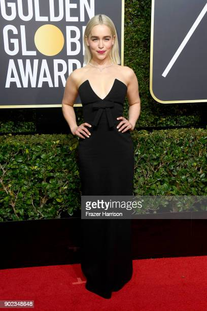 Emilia Clarke attends The 75th Annual Golden Globe Awards at The Beverly Hilton Hotel on January 7 2018 in Beverly Hills California