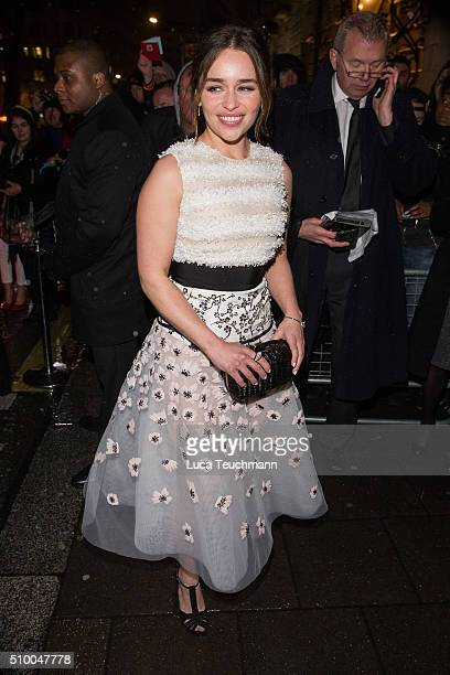 Emilia Clarke attends the Charles Finch PreBAFTA party at Annabel's on February 13 2016 in London England