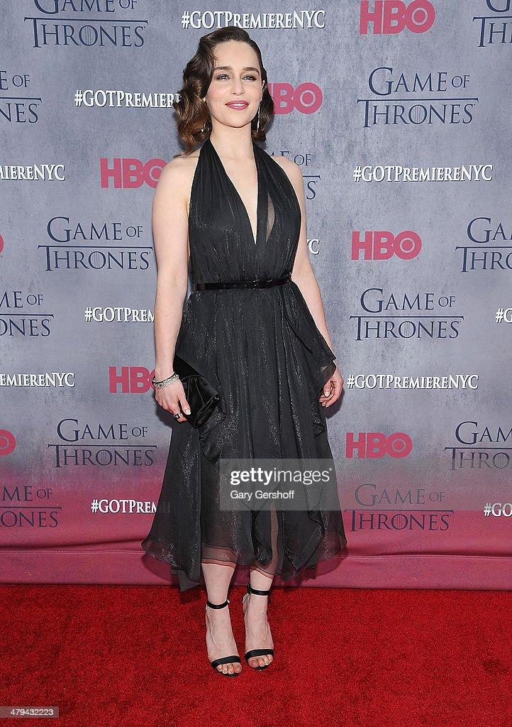 Emilia Clarke attends the 'Game Of Thrones' Season 4 premiere at Avery Fisher Hall, Lincoln Center on March 18, 2014 in New York City.