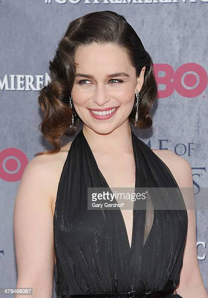 Emilia Clarke attends the Game Of Thrones Season 4 premiere at Avery Fisher Hall Lincoln Center on March 18 2014 in New York City