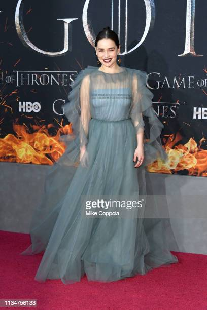 """Emilia Clarke attends the """"Game Of Thrones"""" season 8 premiere on April 3, 2019 in New York City."""