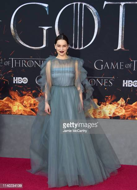 """Emilia Clarke attends the """"Game Of Thrones"""" Season 8 Premiere on April 03, 2019 in New York City."""