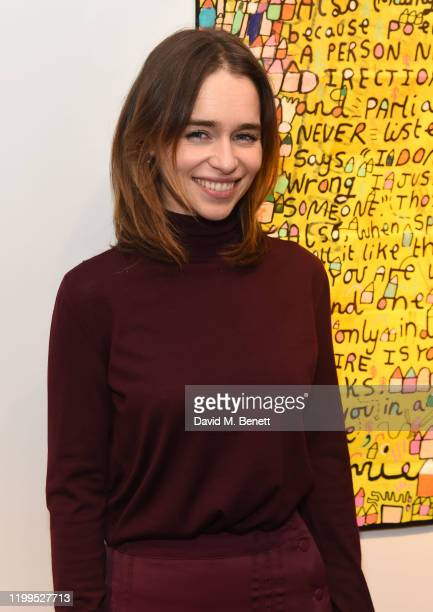 Emilia Clarke attends the Gommie exhibition at Messums London on February 8 2020 in London England