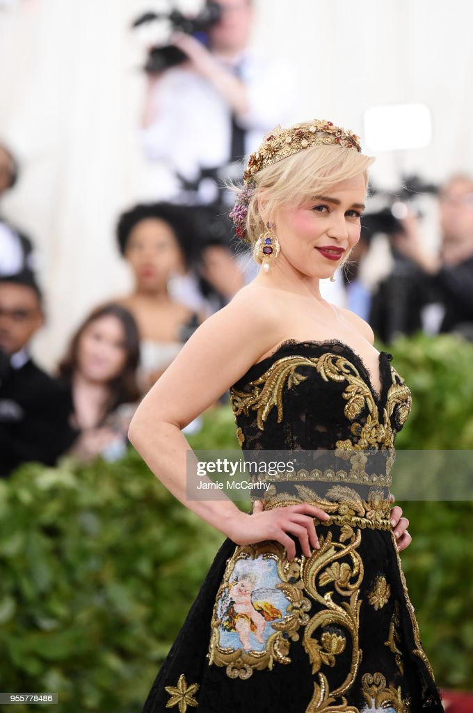 Emilia Clarke attends the Heavenly Bodies: Fashion & The Catholic Imagination Costume Institute Gala at The Metropolitan Museum of Art on May 7, 2018 in New York City.