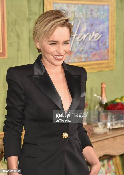 Emilia Clarke attends the Los Angeles Premiere Of HBO Films MY DINNER WITH HERVE at Paramount Studios on October 4 2018 in Hollywood California