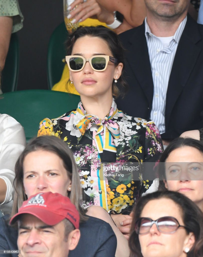 Emilia Clarke attends the Mens Singles Final during day thirteen of the Wimbledon Tennis Championships at the All England Lawn Tennis and Croquet Club on July 16, 2017 in London, United Kingdom.