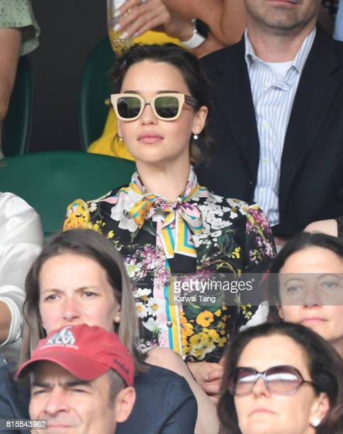 Emilia Clarke attends the Mens Singles Final during day thirteen of the Wimbledon Tennis Championships at the All England Lawn Tennis and Croquet...