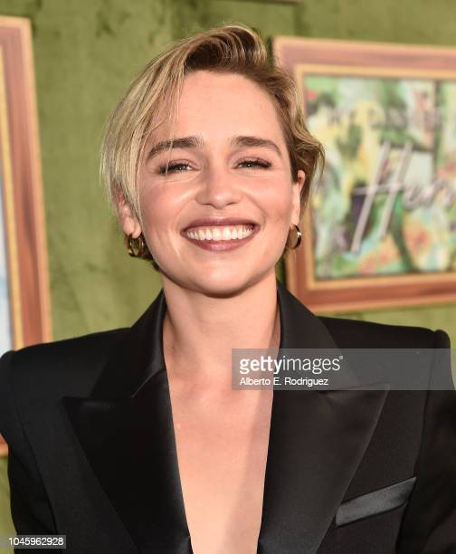 Emilia Clarke attends the premiere of HBO Films' My Dinner With Herve at Paramount Studios on October 4 2018 in Hollywood California
