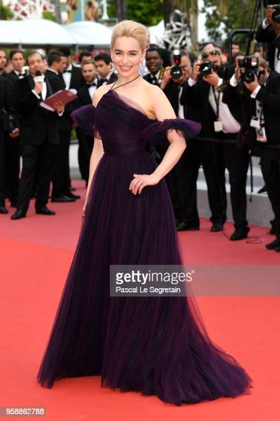Emilia Clarke attends the screening of Solo A Star Wars Story during the 71st annual Cannes Film Festival at Palais des Festivals on May 15 2018 in...