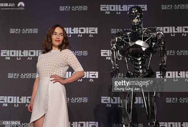 Emilia Clarke attends the Seoul Press Conference of 'Terminator Genisys' at the Ritz Carlton Hotel on July 2 2015 in Seoul South Korea