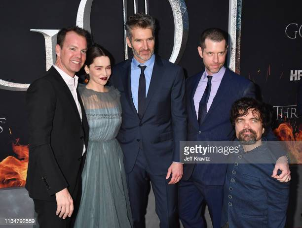 Emilia Clarke David Benioff DB Weiss and Peter Dinklage attend the Game Of Thrones Season 8 NY Premiere on April 3 2019 in New York City