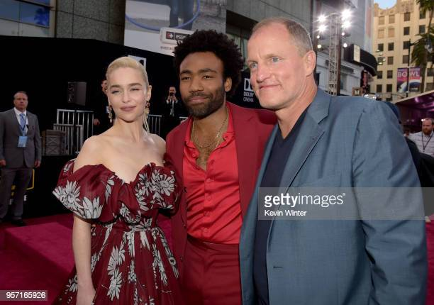 Emilia Clarke Donald Glover and Woody Harrelson attend the premiere of Disney Pictures and Lucasfilm's 'Solo A Star Wars Story' at the El Capitan...