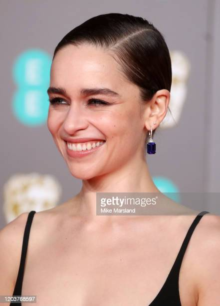 Emilia Clarke earring detail attends the EE British Academy Film Awards 2020 at Royal Albert Hall on February 02 2020 in London England