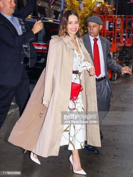Emilia Clarke is seen arriving at 'Good Morning America' on October 30, 2019 in New York City.