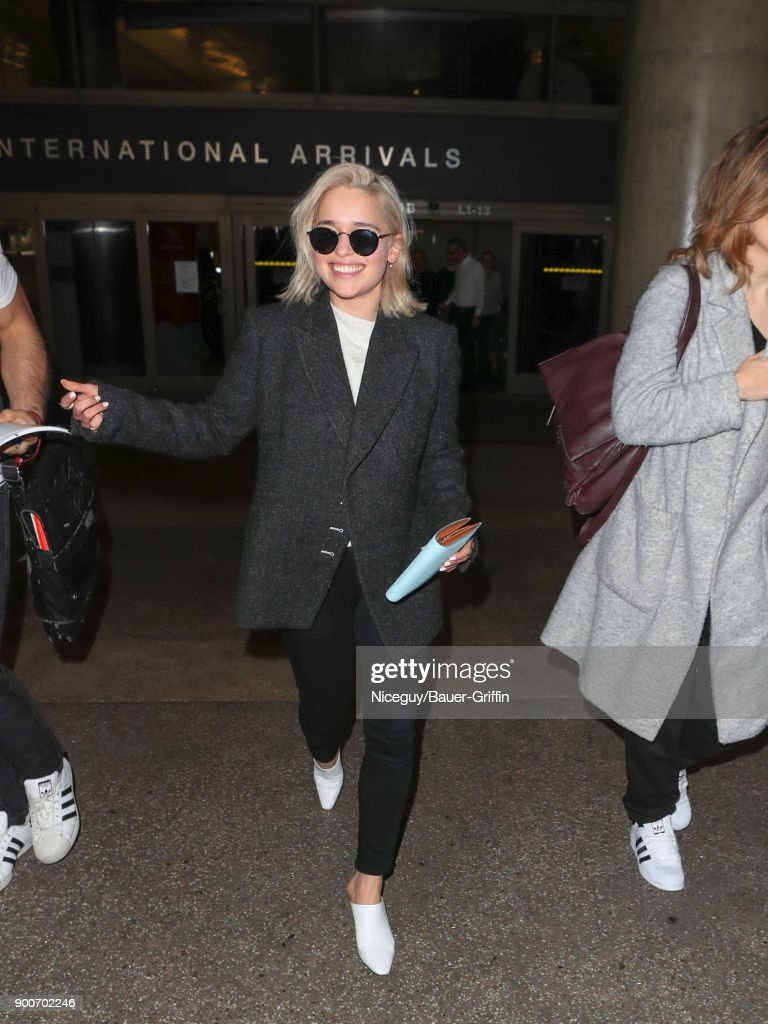 Emilia Clarke is seen at Los Angeles International Airport on January 02, 2018 in Los Angeles, California.