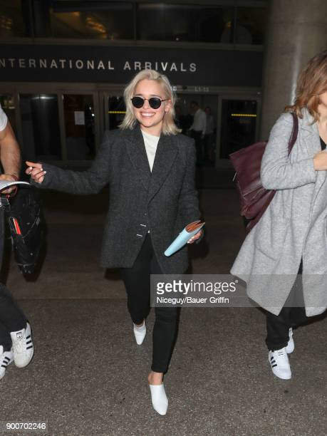 Emilia Clarke is seen at Los Angeles International Airport on January 02 2018 in Los Angeles California
