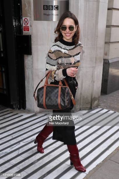 Emilia Clarke leaving BBC Radio 2 on March 03, 2020 in London, England.