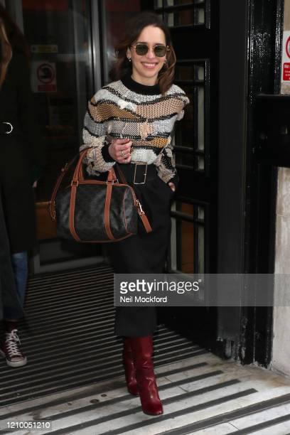 Emilia Clarke leaving BBC Radio 2 on March 03 2020 in London England