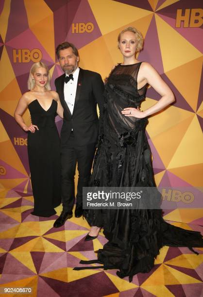 Emilia Clarke Nikolaj Coster Waldau and Gwendoline Christie attends HBO's Official Golden Globe Awards After Party at Circa 55 Restaurant on January...