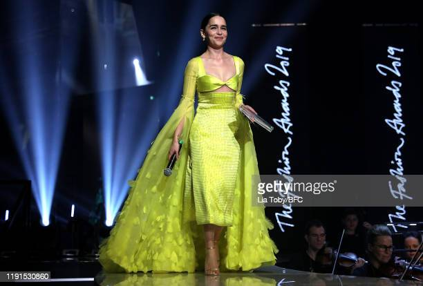 Emilia Clarke on stage during The Fashion Awards 2019 held at Royal Albert Hall on December 02 2019 in London England