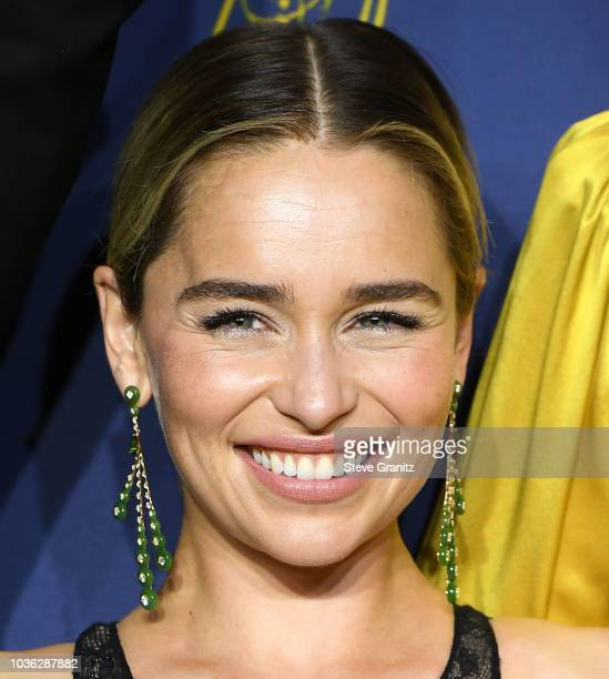 Emilia Clarke poses at the 70th Emmy Awards on September 17 2018 in Los Angeles California