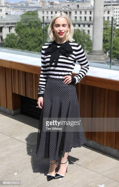 Emilia Clarke poses for photographers at a photocall for Solo A Star Wars Story at The Trafalgar Hotel on May 18 2018 in London United Kingdom
