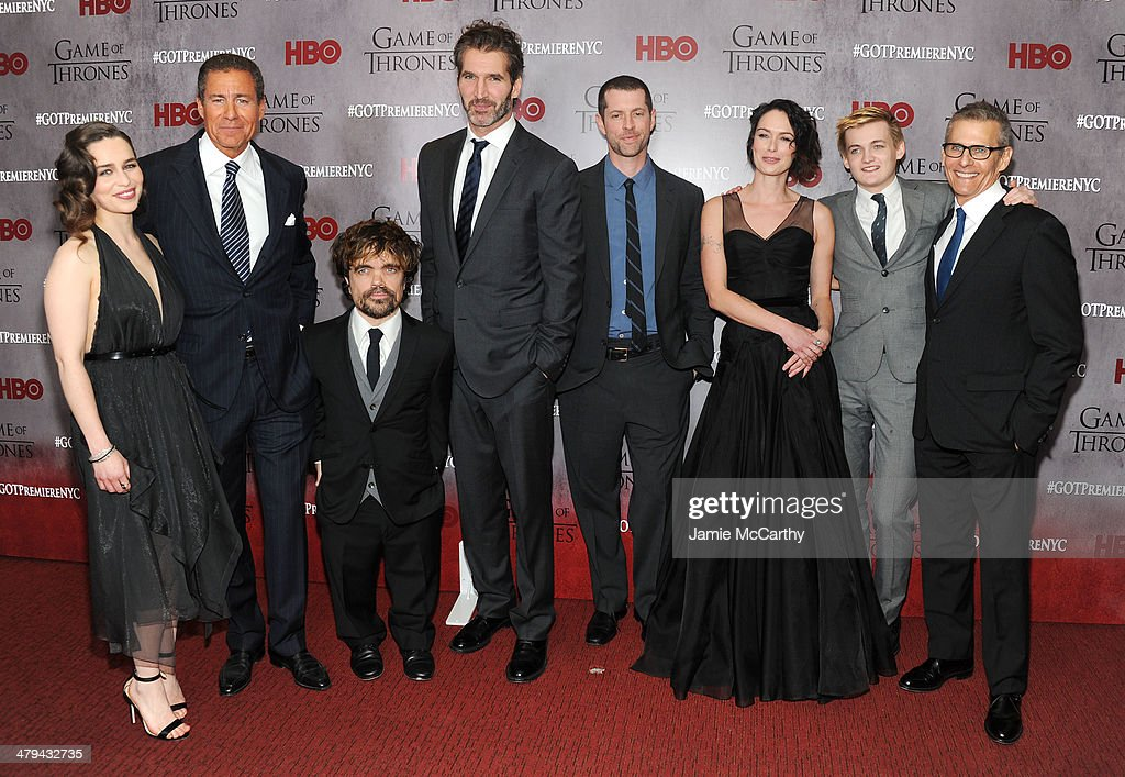 Emilia Clarke, Richard Plepler, Peter Dinklage, David Benioff, D.B. Weiss, Lena Headey, Jack Gleeson and Michael Lombardo attend the 'Game Of Thrones' Season 4 New York premiere at Avery Fisher Hall, Lincoln Center on March 18, 2014 in New York City.