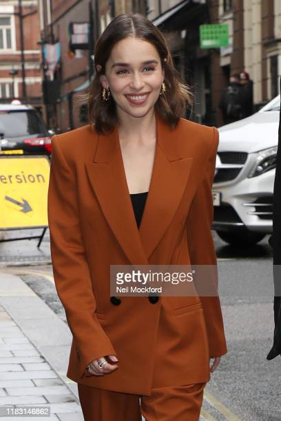 Emilia Clarke seen returning to her hotel whilst promoting new movie 'Last Christmas' on October 24 2019 in London England