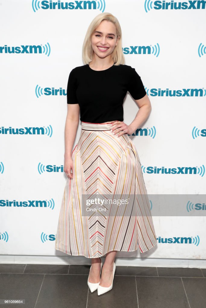 Emilia Clarke takes part in SiriusXM's Town Hall with the cast of Solo: A Star Wars Story hosted by SiriusXM's Dalton Ross at SiriusXM Studios on May 21, 2018 in New York City.