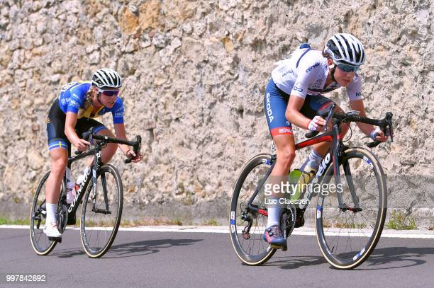 Emilia Fahlin of Sweden and Team Wiggle High5 / Clara Koppenburg of Germany and CerveloBigla Pro Cycling Team / during the 29th Tour of Italy 2018...