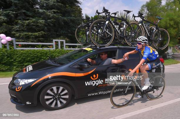 Emilia Fahlin of Sweden and Team Wiggle High5 / Feed / Car / Sportsdirector / during the 29th Tour of Italy 2018 Women Stage 8 a 1262km stage from...