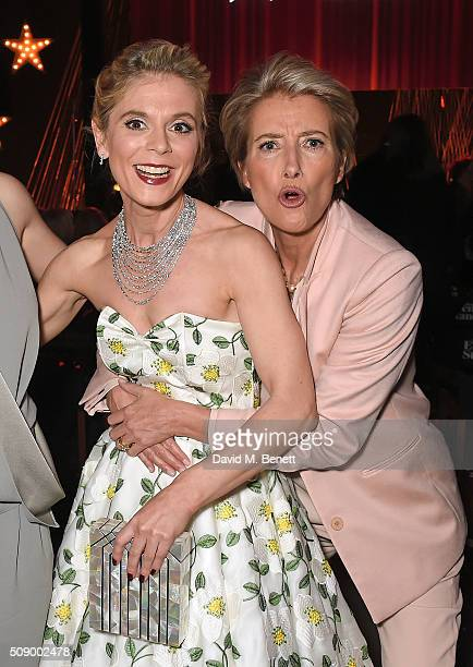 Emilia Fox and Emma Thompson attend a champagne reception at the London Evening Standard British Film Awards at Television Centre on February 7 2016...