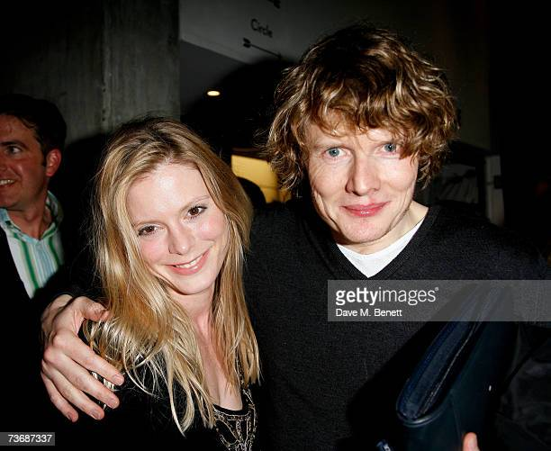 Emilia Fox and Julian RhindTutt attend the a fundraiser party for the Almeida Theatre at the Almeida Theatre on March 23 2007 in London England