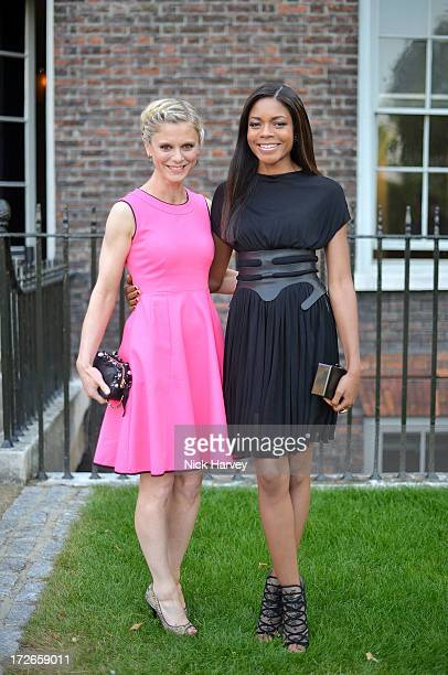 Emilia Fox and Naomie Harris attends the launch party for the Fashion Rules exhibition a collection of dresses worn by HRH Queen Elizabeth II...