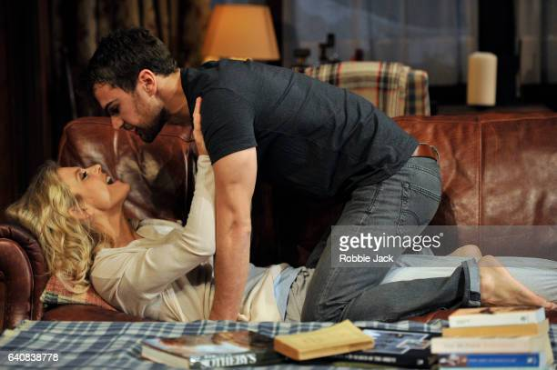 Emilia Fox as Olivia and Theo James as Ethan in Laura Eason's Sex with Strangers directed by Peter DuBois at Hampstead Theatre on February 1 2017 in...