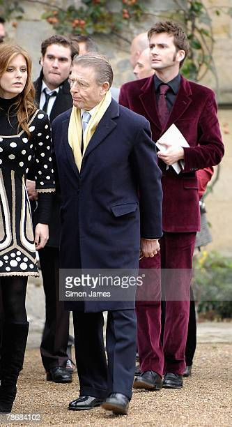 Emilia Fox Edward Fox and David Tennant leave the wedding of Billie Piper and Laurence Fox at the Parish Church Of St Mary's on December 31 2007 in...