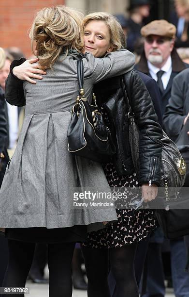 Emilia Fox hugs a friend at the funeral of Christopher Cazenove held at St Paul's Church in Covent Garden on April 16 2010 in London England