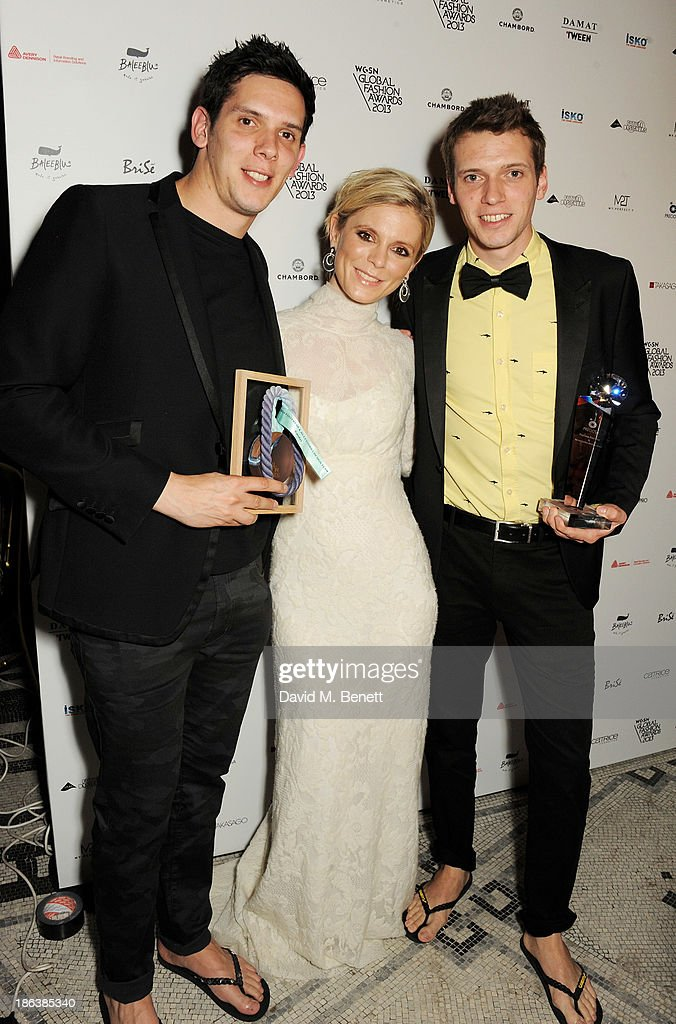 Emilia Fox (C) poses with Rob Forkan (L) and Paul Forken of Gandys, winners of the Preciosa Footwear & Accessories Design Team, pose backstage at The WGSN Global Fashion Awards at the Victoria & Albert Museum on October 30, 2013 in London, England.