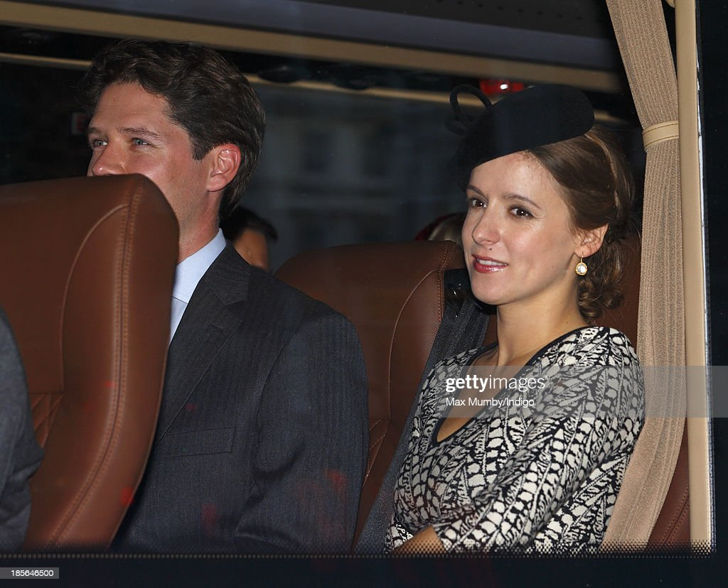 Emilia Jardine-Paterson (Godmother to Prince George of Cambridge) accompanied by her husband David Jardine-Paterson arrives back at Kensington Palace after attending Prince George of Cambridge's christening at the Chapel Royal in St James's Palace on October 23, 2013 in London, England.