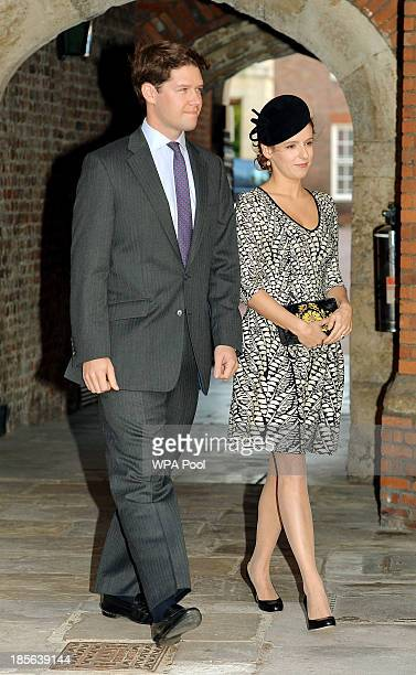 Emilia JardinePaterson and husband David arrive at the Chapel Royal in St James's Palace for the christening of the three monthold Prince George of...