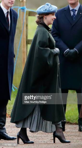 Emilia JardinePaterson attends Sunday service at the Church of St Mary Magdalene on the Sandringham estate on January 5 2020 in King's Lynn England