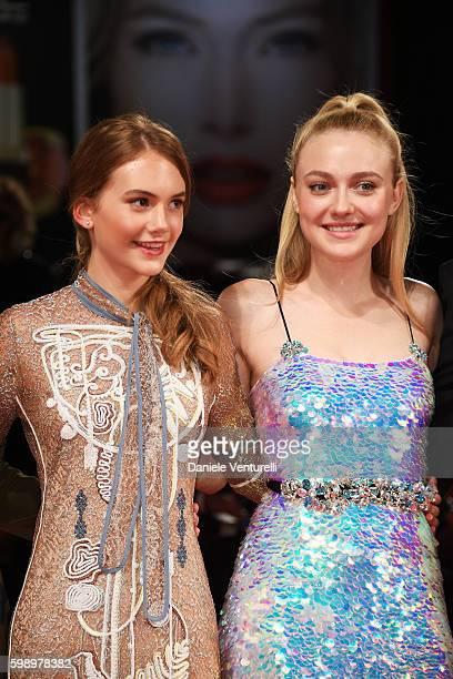 Emilia Jones and Dakota Fanning attend the premiere of 'Brimstone' during the 73rd Venice Film Festival at Sala Grande on September 3 2016 in Venice...