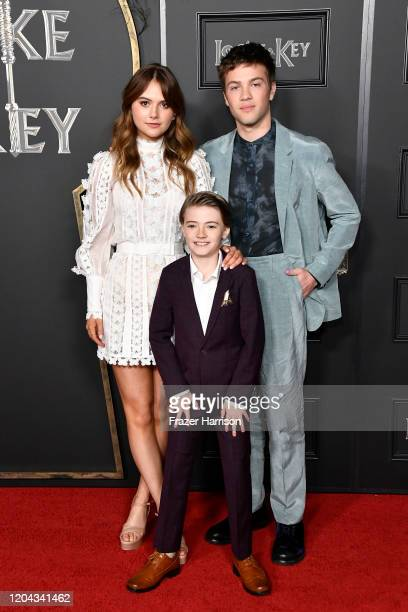 Emilia Jones Jackson Robert Scott and Connor Jessup attend Netflix's Locke Key series premiere photo call at the Egyptian Theatre on February 05 2020...
