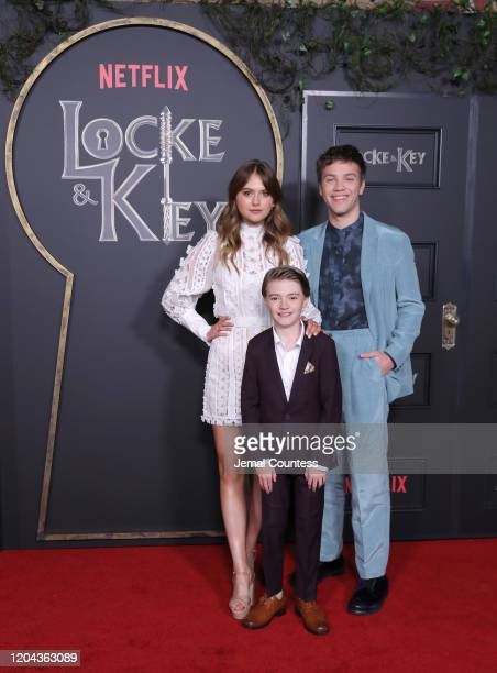 Emilia Jones Jackson Robert Scott and Connor Jessup attend the Locke Key Series Premiere Photo Call at the Egyptian Theatre on February 05 2020 in...
