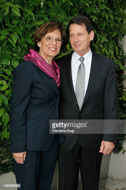 Emilia Mueller and her husband Erich Mueller attend the opera 'The Magic Flute' at the Thurn Taxis Castle Festival Opening on July 13 2012 in...