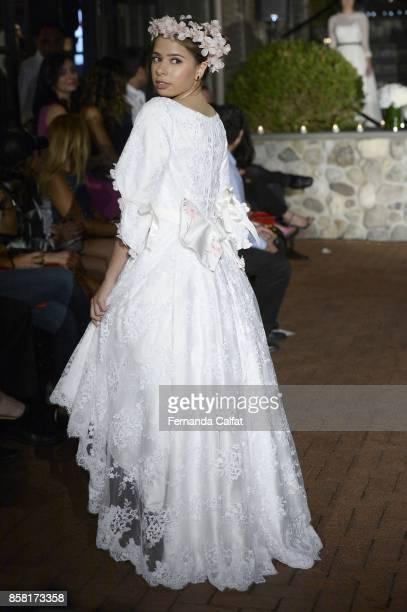 Emilia Pedersen walks the Po de Arroz runway show at New York Fashion Week Bridal October 2017 at Hendrick's Tavern on October 5 2017 in Roslyn New...