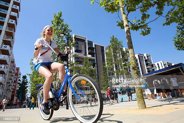 Emilia Pikkarainen of Finland rides through the Olympic Village ahead of the London 2012 Olympics at the Olympic Park on July 26 2012 in London...